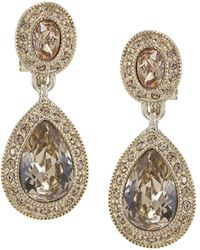 Carolee - Pavé Teardrop Clip-on Earrings - Lyst