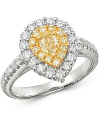 Bloomingdale's - Pear-shaped Yellow & White Diamond Statement Ring In 14k White & Yellow Gold - Lyst