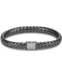 John Hardy - Blackened Sterling Silver Classic Chain Pavé Diamond Medium Bracelet - Lyst