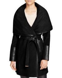 Via Spiga - Belted Faux Leather Trim Coat - Lyst