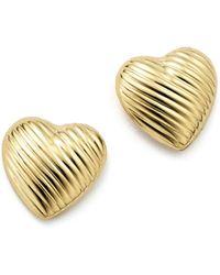 Bloomingdale's - 14k Yellow Gold Medium Heart Stud Earrings - Lyst