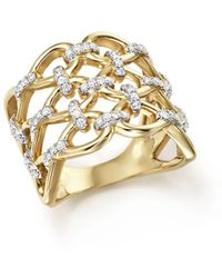 Bloomingdale's - Diamond Micro-pavé Lattice Ring In 14k Yellow Gold, 0.50 Ct. T.w. - Lyst