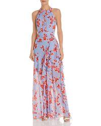 bad791d1fd Eliza J Floral Print Sleeveless Bow Tie Waist Full Skirt Organza ...