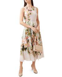 Hobbs - Carly Floral Print Midi Dress - Lyst