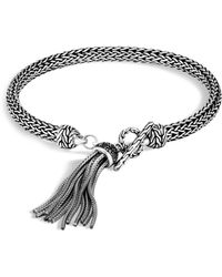 John Hardy - Sterling Silver Classic Chain Tassel Bracelet With Black Sapphire & Black Spinel - Lyst
