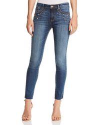 Aqua - Embellished Skinny Jeans In Medium Wash - Lyst