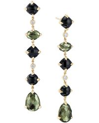 David Yurman - Chatelaine Multi Drop Earrings In 18k Yellow Gold With Green Orchid - Lyst