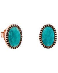 Tous - Amazonite & Black Spinel Oval Stud Earrings - Lyst