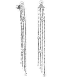 3201fa114f8a04 Majorica - Stainless Steel Imitation Pearl Chain Fringe Drop Earrings - Lyst