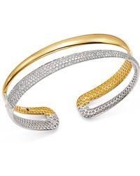 Roberto Coin - 18k White & Yellow Gold Scalare Half Pavé Diamond Kick Cuff - Lyst