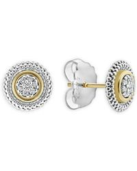 Lagos - 18k Gold And Sterling Silver Signature Caviar Diamond Stud Earrings - Lyst