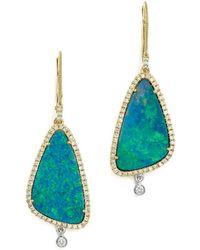Meira T - 14k White & Yellow Gold Opal & Diamond Drop Earrings - Lyst