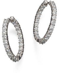 Roberto Coin - 18k White Gold Diamond Inside-out Hoop Earrings - Lyst