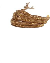 Chan Luu - Gold Bead Wrap Bracelet On Natural Leather - Lyst