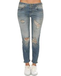 R13 - Boy Skinny Shredded Jean - Lyst