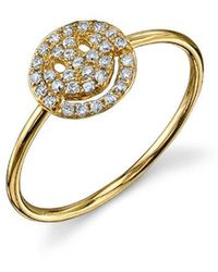Sydney Evan - Pave Happy Face Ring - Lyst