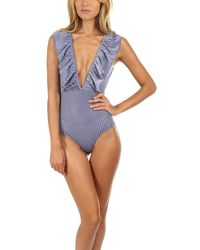 MISA Los Angles Luca Bodysuit Velvet Stripe - Blue