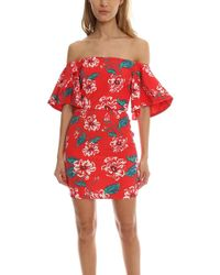 Nicholas - Print Floral Tuck Sleeve Dress - Lyst