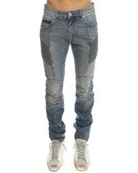 Balmain - Ribbed Slim-Fit Denim Moto Jean - Lyst