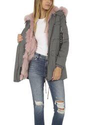 Jocelyn - Washed Cargo Coat With Fur Trim - Lyst