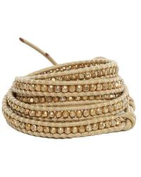 Chan Luu - Gold Indian Bead On Natural Leather Wrap - Lyst