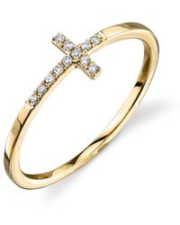Sydney Evan - Bent Cross Pavé Diamond Ring - Lyst