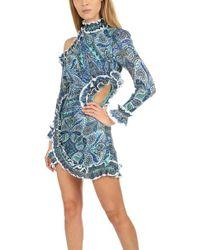 bf6997ef96440a Zimmermann Moncur Ruffle Shirt Dress in Blue - Lyst