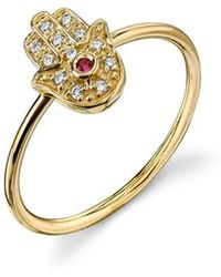 Sydney Evan - Hamsa Ring - Yellow - Lyst