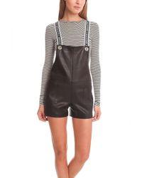 American Retro Stephanie Leather Short Overalls