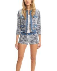 Balmain - Denim Tweed Jacket Light Denim - Lyst