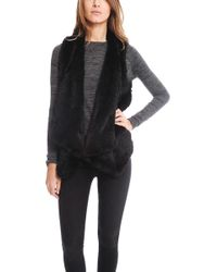 H Brand - Audra Rabbit Fur Vest In Black - Lyst