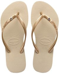 Havaianas - Slim Crystal Flip Flops Sand Grey - Lyst