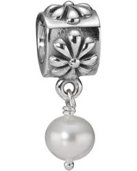 PANDORA - Simple Flower Silver Pearl Charm - Lyst