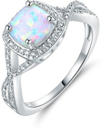 Peermont - 18k White Gold Plated White Fire Opal Ring - Lyst