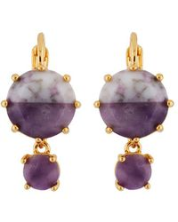 Les Nereides - Special La Diamantine Round Marbled Purple Stones Clip Earrings - Lyst