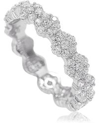 Suzy Levian - Sterling Silver Cubic Zirconia Floral Eternity Band - White - Lyst