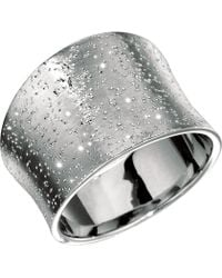 Jewelry Affairs - Sterling Silver Concave Design Stardust Finish Ring - Lyst