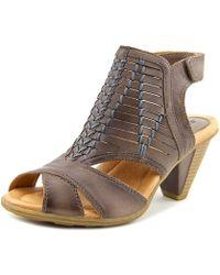 Earth - Libra Women Open-toe Leather Grey Slingback Sandal - Lyst