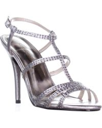 Caparros - Groovy Embellished Evening Sandals, Silver Metallic - Lyst