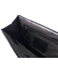 Roberto Cavalli - Large Zip Around Black Leather Laptop Bag - Lyst
