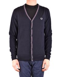 Fred Perry - Men's Blue Wool Cardigan - Lyst