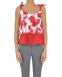 Twin Set - Women's Red Cotton Top - Lyst