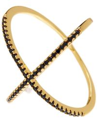 Adornia - Yellow Gold Vermeil And Black Swarovski Crystal X Ring - Lyst