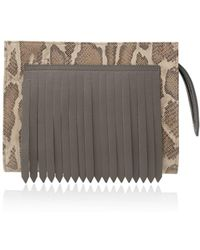 Joanna Maxham - Flapper Mini In Grey Leather And Snake - Lyst