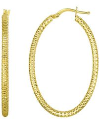Jewelry Affairs - 14k Yellow Gold Hanging Shiny Open Square Textured Open Oval Drop Earring - Lyst