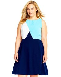 Adrianna Papell - Colorblock A-line Dress With Exposed Zipper Back - Lyst