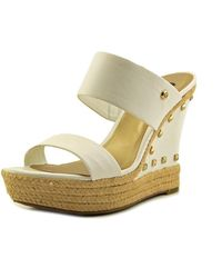 G by Guess - Decaf Open Toe Synthetic Wedge Sandal - Lyst