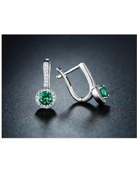 Peermont - 18k White Gold Plated Swarovski Crystal & Nano Emerald Huggie-earrings - Lyst