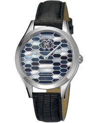 Roberto Cavalli - Women's Rc-36 Swiss Quartz Black Leather Strap Watch - Lyst
