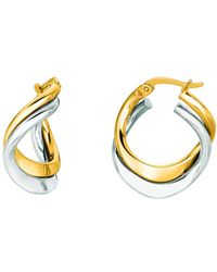 Jewelry Affairs - 14k Yellow And White Gold Double Row Hoop Earrings, Diameter 17mm - Lyst